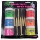 Blacklight Liquid Latex Body Paints 6 Brushes Kit