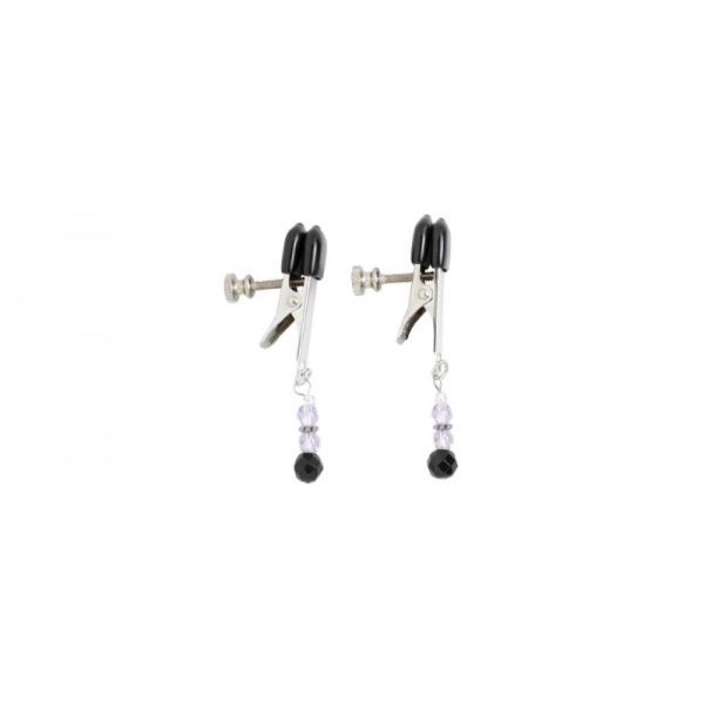 Adjustable Broad Tip Nipple Clamps W/Purple Beads - Spartacus